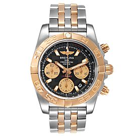 Breitling Chronomat 41 Steel Rose Gold Black Dial Watch CB0140