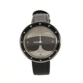 Fendi My Way Karlito Quartz Watch Stainless Steel with Faux Fur and Leather with Diamond Markers 36