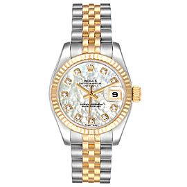 Rolex Datejust Steel Yellow Gold MOP Diamond Ladies Watch 179173