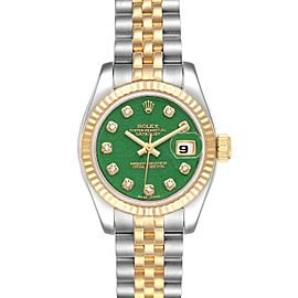 Rolex Datejust 26 Steel Yellow Gold Jade Diamond Dial Watch 179173