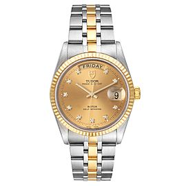Tudor Day Date Steel Yellow Gold Champagne Diamond Dial Watch 76213