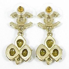 CHANEL Gold-tone Colored Stones Coco Mark Pierced Earrings CHAT-50