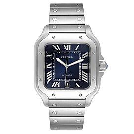 Cartier Santos Blue Dial Stainless Steel Mens Watch WSSA0030