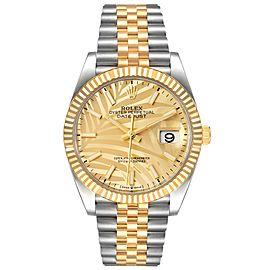 Rolex Datejust Steel Yellow Gold Golden Palm Dial Mens Watch 126233