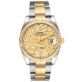 Rolex Datejust Steel Yellow Gold Golden Palm Dial Mens Watch