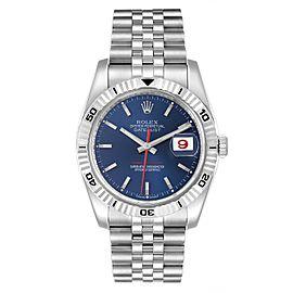 Rolex Datejust Turnograph Blue Dial Steel Mens Watch 116264