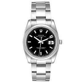 Rolex Date Black Dial Oyster Bracelet Steel Mens Watch 115200 Box Card