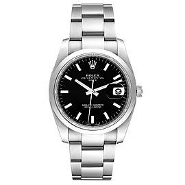 Rolex Date Black Dial Oyster Bracelet Steel Mens Watch 115200 Unworn