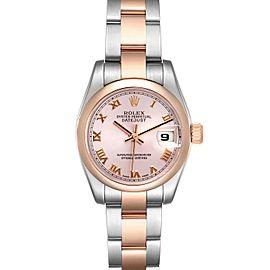 Rolex Datejust Steel Rose Gold Rose Roman Dial Ladies Watch 179161