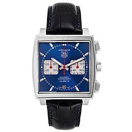 Tag Heuer Monaco Calibre 12 Blue Dial Black Strap Watch CAW2111