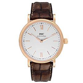 IWC Portofino 18k Rose Gold Silver Dial Brown Strap Mens Watch IW511101
