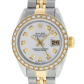 Rolex Datejust SS and 18K Yellow Gold Silver Diamond Dial 26mm Women's Watch