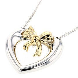 TIFFANY & Co 925 Silver Combination ribbon heart Necklace TBRK-192