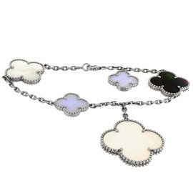 Van Cleef & Arpels 18K White Gold with Mother of Pearl & Chalcedony Magic Alhambra Motifs Bracelet