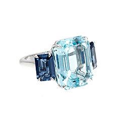 Platinum Aquamarine Sapphire Ring Size 6.50