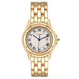 Cartier Cougar 18K Yellow Gold Silver Dial Ladies Watch 887904