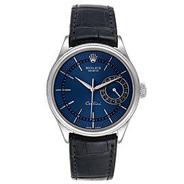 Rolex Cellini Date 18K White Gold Blue Dial Mens Watch 50519