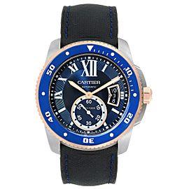 Cartier Calibre Diver Steel Rose Gold Blue Rubber Strap Watch W2CA0009