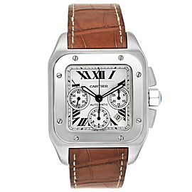 Cartier Santos 100 XL Silver Dial Chronograph Mens Watch W20090X8