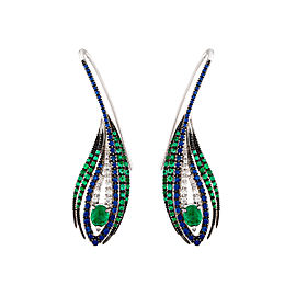 Damiani White Gold .15 CTW Diamond & Sapphire Peacock Earrings
