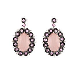 Damiani 18k White Gold 2.4 CTW Diamond & Pink Sapphire Earrings