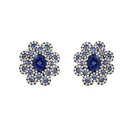 Damiani 18k White Gold 1.16 CTW Diamond & Sapphire Earrings