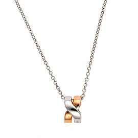 Damiani 18k White Gold Baci Necklace