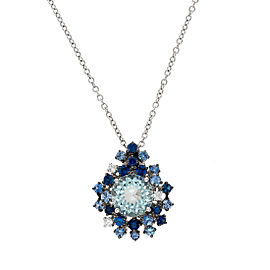 Damiani 18k White Gold .10 CTW Diamond, Aquamarine & Sapphire Anima Necklace