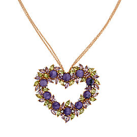 Damiani 18k Rose Gold .36 CTW Diamond & Amethyst Heart Necklace
