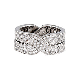 Damiani 18k White Gold .64 CTW Diamond Baci Ring