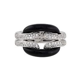 Damiani 18k White Gold .42 CTW Diamond & Onyx D.Lace Ring