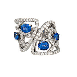Damiani 18k White Gold 1.51 CTW Diamond & Sapphire Battito Ring
