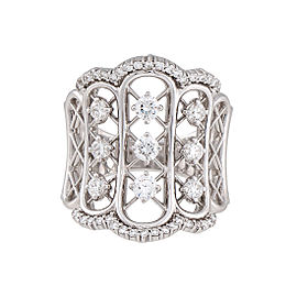 Damiani 18k White Gold 1.13 CTW Diamond Burlesque Ring
