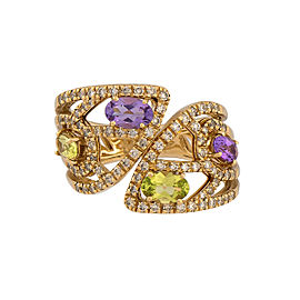 Damiani 18k Yellow Gold .71 CTW Diamond & Amethyst Ring