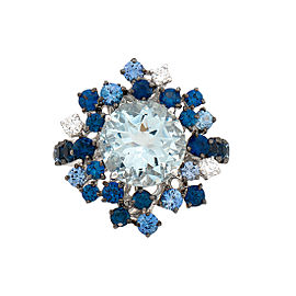 Damiani 18k White Gold .14 CTW Diamond, Aquamarine & Sapphire Anima Ring