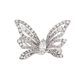 Damiani 18k White Gold .78 CTW Diamond Butterfly Baby Ring