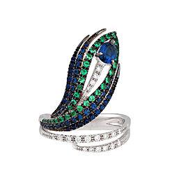 Damiani .19 CTW Diamond & Sapphire Peacock Ring