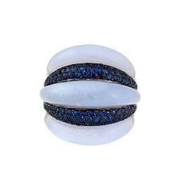 Damiani 18k White Gold 1.69 CTW Sapphire Spicchi Ring
