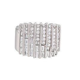 Damiani 18k White Gold 1.66 CTW Diamond Regimental Ring