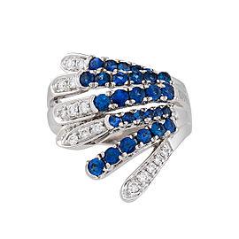Damiani 18k White Gold .35 CTW Diamond & Sapphire Ring