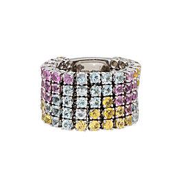 Damiani 18k White Gold 5.64 CTW Aquamarine & Sapphire Ring