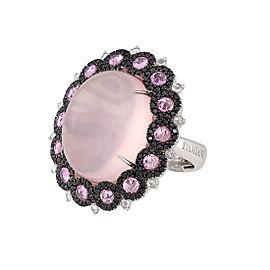Damiani 18k White Gold 1.46 CTW Diamond & Pink Sapphire Ring