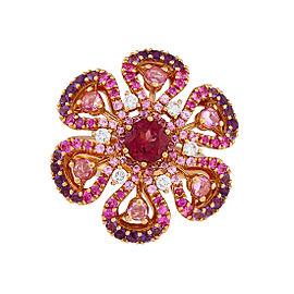 Damiani .24 CTW Diamond, Pink Sapphire & Amethyst Ibisco Ring