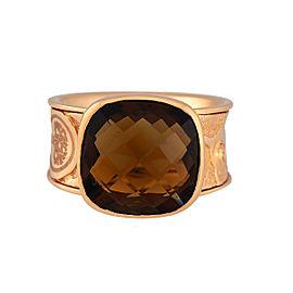 Damiani 18k Rose Gold Cognac Quartz Excaliber Ring