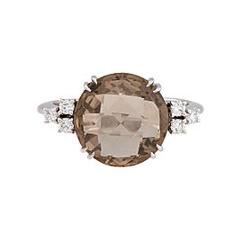 Damiani 18k White Gold .19 CTW Diamond & Smoky Quartz Sweet Ring