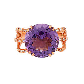 Damiani 18k Rose Gold Diamond & Amethyst Signoria Ring
