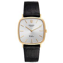 Rolex Cellini 18k Yellow Gold Black Strap Mens Vintage Watch 4114