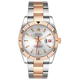 Rolex Turnograph Datejust Steel Rose Gold Silver Dial Mens Watch 116261