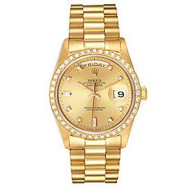 Rolex President Day Date 36mm Yellow Gold Diamond Mens Watch 18348