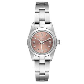 Rolex Oyster Perpetual Salmon Dial Domed Bezel Steel Ladies Watch 76080